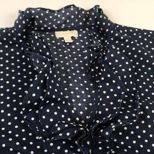 Talbots Tops - Talbots- Navy polka dot cap sleeve blouse, S